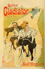 FRENCH BICYCLE CYCLES GLADIATOR COUPLE SPEED ROAD BIKING VINTAGE POSTER REPRO