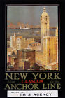 NEW YORK CITY FROM GLASGOW BY THE ANCHOR LINE USA TRAVEL VINTAGE POSTER REPRO
