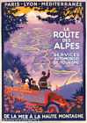 FRENCH PARIS LYON ROUTE DES ALPES SEA TO MOUNTAIN TRAVEL VINTAGE POSTER REPRO