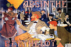 ABSINTHE BERTHELOT PARISIAN CAFE ARTISTS DRINKING FRENCH VINTAGE POSTER REPRO