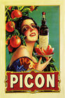 PICON AMER LIQUOR APERITIF WOMAN ORANGE BOTTLE DRINK FRENCH VINTAGE POSTER REPRO