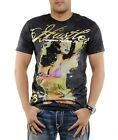 NEW HUSTLER TATTOO GIRL & GOLD SKULLS BLACK T-SHIRT NWT