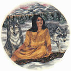 Ceramic Decals Native American Indian Maiden Wolf Scene image