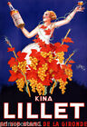 FRENCH KINA LILLET GRAPES GIRL WHITE DRESS GRAPEVINE FRANCE VINTAGE POSTER REPRO