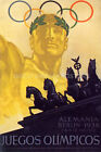 GERMANY BERLIN 1936 OLIMPIC GAMES RINGS ATHLETE GATE STATUE VINTAGE POSTER REPRO