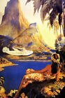 VACATION HAWAII HULA DANCE AIRPLANE BEACH TRAVEL TOURISM VINTAGE POSTER REPRO