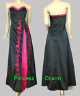 NEW Black Hot Pink Evening Gown Sz 10 12 14 16 18 20 22 24
