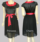 NEW Black Red Cocktail Dress Size 10 12 14 16 18 20 22