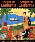 SOUTHERN CALIFORNIA MILD WEATHER SAILBOAT USA TRAVEL VINTAGE POSTER REPRO