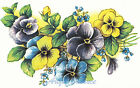 Ceramic Decals Pansy Floral Group Blue Purple Yellow image