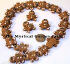 Lampwork Glass Tan Brown GINGERBREAD MAN Beads   *So Cute!