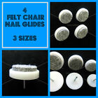 Felt & nylon nail on chair leg feet glides anti scratch wood floor potection x 4