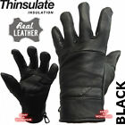 MENS THINSULATE THERMAL SMART FULL REAL LEATHER, FLEECE LINED GLOVE DRIVING