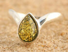 BALTIC AMBER RING * STERLING SILVER * GREEN p128