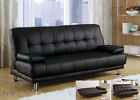 NEW BENSON BLACK OR BROWN BYCAST LEATHER FUTON SOFA BED