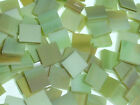 GREEN AMBER handcut stained glass mosaic tiles #292