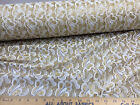 Discount Fabric  Mesh Lace White with  GOLD Metallic Abstract Floral  LC662