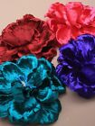 9811 Large crinkled satin fabric flower Wedding Party  Pink Purple Green Wine