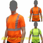 Hi Viz Crew/Round Neck Safety T-shirt Mens High Vis Top Reflective Tape EN471