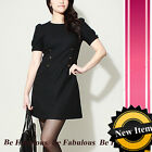 Black Military Essence Double Breasted Dress L-XL