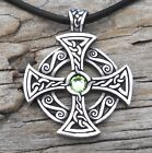 PEWTER Celtic SOLAR CROSS Druid Irish PERIDOT Crystal AUGUST Birthstone Pendant