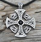 PEWTER Celtic SOLAR CROSS Druid Irish Gothic JET BLACK SWAROVSKI Crystal Pendant