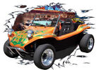 1969 Orange VW Dune Buggy Hot Rod Diner T-Shirt 69, Muscel Car Tee's