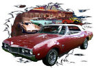 1968 Red Oldsmobile Cutlass Convertible HotRod Diner T-Shirt 68, Muscle Car Tee'
