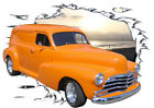 1946 Orange Chevy Sedan Delivery Hot Rod Sun Set T-Shirt 46, Muscle Car Tee's