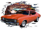 1972 Orange Chevy Chevelle SS Super Sport Hot Rod Diner T-Shirt 72, Muscle Car T
