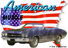1970 Blue Chevy Chevelle SS Convertible Hot Rod USA T-Shirt 70, Muscle Car Tee's