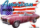 1972 Burgundy Chevy Chevelle SS Super Sport Hot Rod USA T-Shirt 72, Muscle Car T