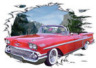 1958 Red Chevy Impala Convertible Hot Rod Mountain T-Shirt 58, Muscle Car Tee's