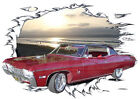 1968 Red Chevy Impala Custom Hot Rod Sun Set T-Shirt 68, Muscle Car Tee's