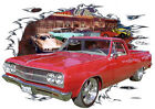 1965 Red Chevy El Camino b Custom Hot Rod Diner T-Shirt 65, Muscle Car Tee's
