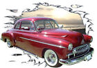 1949 Red Chevy Sport Coupe a Custom Hot Rod Sun Set T-Shirt 49, Muscle Car Tee's