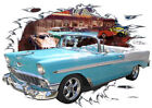 1956 Blue Chevy Bel Air Convertible c Hot Rod Diner T-Shirt 56, Muscle Car Tee's