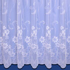 EVIE FLORAL NET CURTAIN IN WHITE - SOLD BY THE METRE - MULTIPLE DROPS