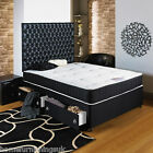 BLACK DIVAN BED + ORTHO DAMASK MATTRESS + H/B 6FT 5FT 4FT6 4FT 3FT6 3FT 2FT6