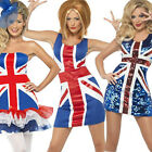 Union Jack Dress British Flag Olympics Ladies Fancy GB Costume Outfit UK 6-16