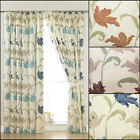 """A PAIR OF KINSALE FLORAL 3"""" TAPE TOP LINED CURTAINS IN MULTIPLE COLOURS & SIZES"""