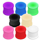 Pair (2) Solid Silicone Double Flat Flare Ear Tunnels Plugs Earlets Gauges