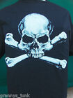 Black Mens 100% Cotton Skull and Cross Bones T Shirt mens New pre shrunk