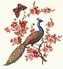 Ceramic Decals Oriental Style Peacock Bird Floral Butterfly