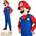 Super Mario Bros Boy's Fancy Dress Childs 1980s Costume Kids Outfit + Hat