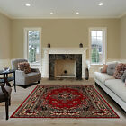 TRADITIONAL RED BORDER PERSIAN BURGUNDY AREA RUG ORIENTAL MULTI-COLOR CARPET