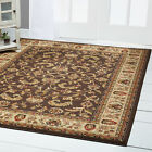 BROWN CREAM IVORY BORDERED TRADITIONAL AREA RUG PERSIAN ORIENTAL FLORAL CARPET