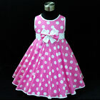 P3121 Girl Pink Polkadot Christmas Wedding  Girls Party Dress SZ 2,3,4,5,6,7,8,9