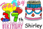 GIRLS FUNNY PERSONALIZED HAPPY 37th BIRTHDAY T-SHIRT