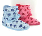 Girls Heart Print Cosy Fluffy Fur Warm Slippers Booties UK Sizes Womens 3-8
